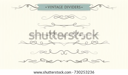 Vector hand drawn flourishes, dividers, graphic lovely design element set. Cute vintage borders. Wedding invitation cards, page decoration. Calligraphy elegant designer swirls ornate motifs & scrolls