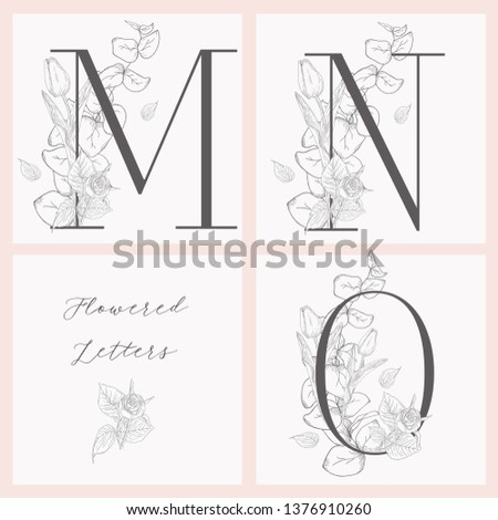Vector Hand Drawn Flowered Initial M, N, O monograms or logs. Uppercase Letters with Tulip and Rose Flowers, Eucalyptus Branch. Wildflowers. Floral Design. Brand Identity Stock fotó ©