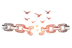 Vector hand drawn freedom concept sketch with broken chain and flock of birds flying over it