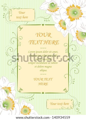 Vector hand drawn greeting card, vintage style.  Wedding or invitation, birthday, shower, Valentine, anniversary. Floral illustration with narcissuses, swirls and vertical striped pastel background.