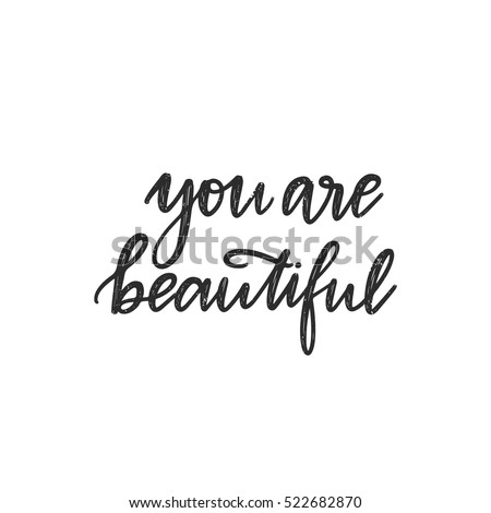vector hand drawn greeting card you are beautiful