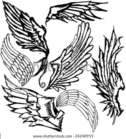 VECTOR Hand-drawn grungy wings. Set of 7 variations.