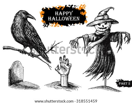 vector hand drawn halloween set