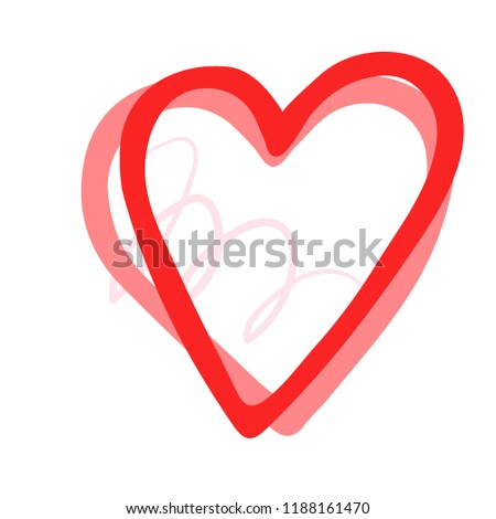 Vector hand drawn heart. Love symbol. Isolated, clip art. Brush, ink. Red decor element for Valentine's day card, pattern, poster, label, sticker, postcard and print.