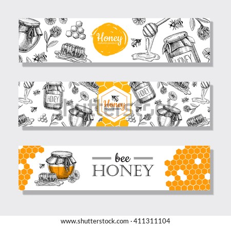 vector hand drawn honey banners....