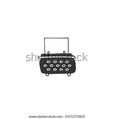 Vector hand drawn icon, a typewriter. Publishing, writing and copywriting theme. For business branding and identity, for writers, copywriters and publishers, for journalists and bloggers.