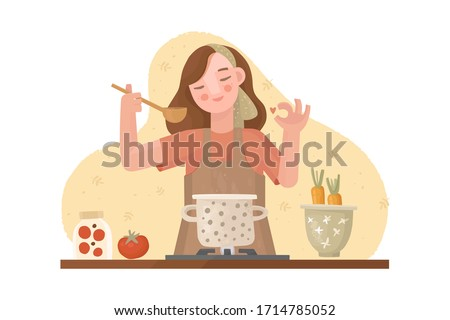 "Vector hand drawn illustration. A girl in an apron is cooking. Approving gesture ""ok"". Pan on the stove with soup. Kitchen utensils, bowl, fresh vegetables. Homemade food, dinner, cozy atmosphere."