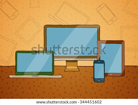 Vector hand drawn illustration of a  desktop computer, laptop, tablet pc and smartphone, technology background in retro vintage style