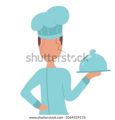Vector hand drawn illustration of a girl chef. The girl chef holds a ready-made dish in her hand. The illustration is suitable for advertising banners.