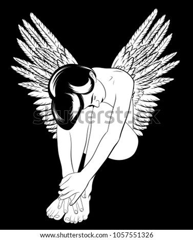 Stock Photo Vector hand drawn illustration of beautif angel with wings. Tattoo artwork. Template for card, poster, banner, print for t-shirt, pin, badge and patch.