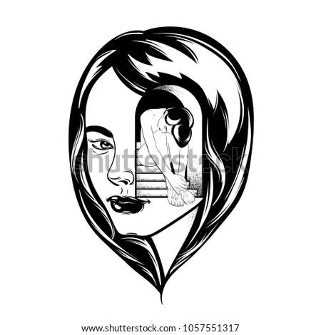 Stock Photo Vector hand drawn illustration of beautiful woman. Surreal tattoo artwork. Template for card, poster, banner, print for t-shirt, pin, badge and patch.
