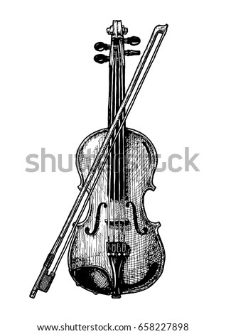 Vector hand drawn illustration of classical acoustic violin with bow in vintage engraved style. isolated on white background.
