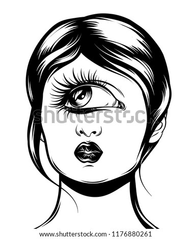 Vector hand drawn illustration of cyclops isolated . Creative tattoo artwork. Template for card, poster, banner, print for t-shirt, pin, badge, patch.