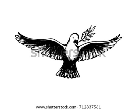 Vector hand drawn illustration of dove with a palm branch on white background. Holiday card with calligraphy. World Peace Day poster.