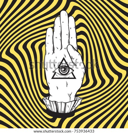 Vector hand drawn illustration of female hand with all seeing eye pyramid on the hypnotic background. Template for card, poster, banner, print for t-shirt.