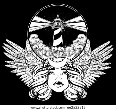 Vector hand drawn illustration of lighthouse with rays and waves. Tattoo artwork with portrait of pretty girl and wings. Template for card, poster, banner, print for t-shirt.