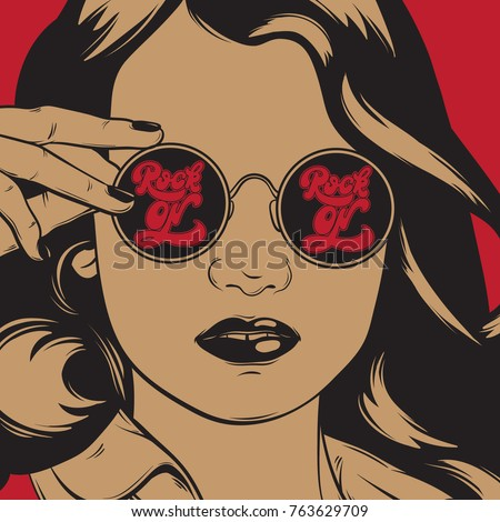 Vector hand drawn illustration of pretty girl in sunglasses with lettering. Hand sketched portrait isolated made in vintage style. Template for card, poster, banner, print for t-shirt