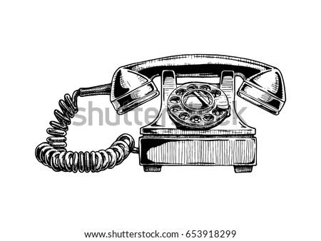 Vector Hand Drawn Illustration Of Retro Phone In Vintage Engraved Style Rotary Dial Telephone
