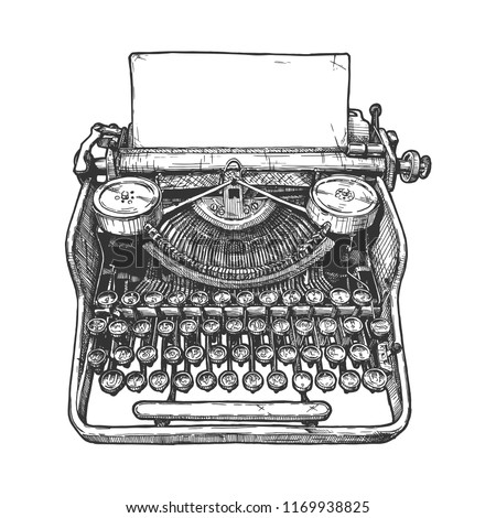 Vector hand drawn illustration of retro typewriter in vintage engraved style. Isolated on white background. ストックフォト ©