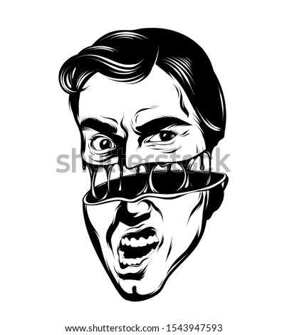 Vector hand drawn illustration of screaming man with open mouth  . Surreal tattoo artwork. Template for card, poster, banner, print for t-shirt, pin, badge, patch.
