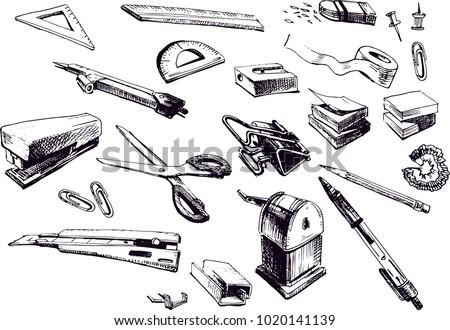Vector hand drawn illustration of stationary: pencil, pen, tape, sticker, memo, ballpoint, ruler, eraser,   rubber, set square, triangle, protractor, compass,Scotch, stapler, staples, pushpin, clip
