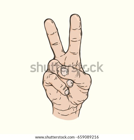 Vector hand drawn illustration of the hand gesture