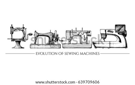 Free Vintage Sewing Machine Vector Download Free Vector Art Stock Simple The Timeline Of The Sewing Machine