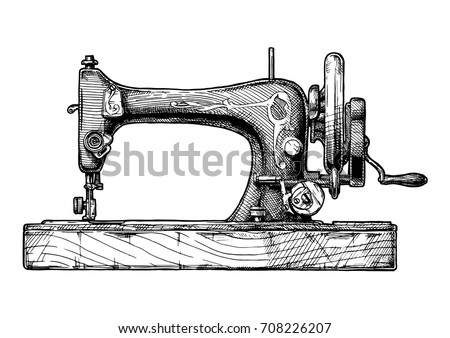 Vector hand drawn illustration of the vintage sewing machine. isolated on white background. Side view.