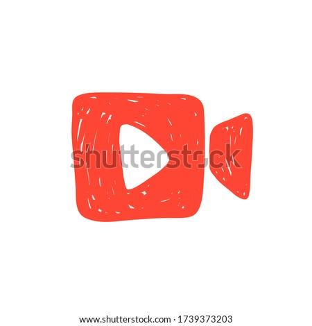 Vector hand drawn illustration of video camera icon logo