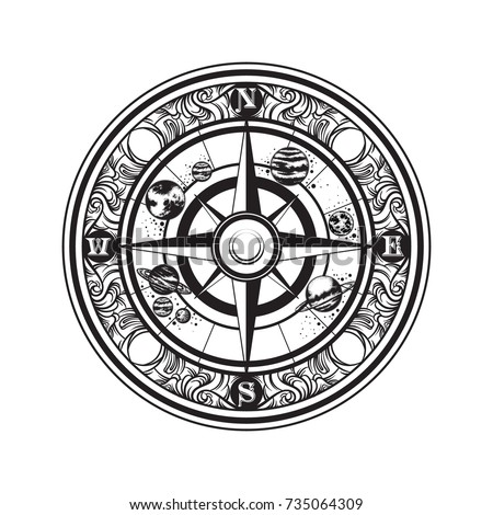 Vector hand drawn illustration of vintage compass and planets of solar system.  Template for card, poster, banner, print for t-shirt. #735064309