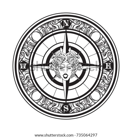 Vector hand drawn illustration of vintage compass. Tattoo artwork with portrait of Gorgon. Template for card, poster, banner, print for t-shirt. #735064297