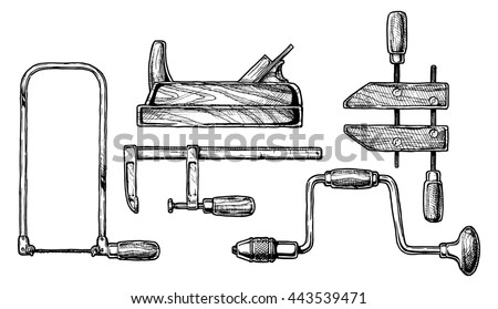 Vector hand drawn illustration of woodworking tools. Fretsaw, plane, bar clamp,  handscrew and hand drill
