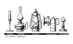 Vector hand drawn illustration of XIX century lightings evolution. Auer lamp with gas mantle, Barn lantern, kerosene and carbide lamps, Edison Light bulb. Isolated on white background.