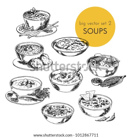 Vector hand drawn illustration with a soups set of different cuisines. dishes of different nations. graphic.