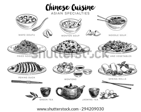 Vector hand drawn illustration with chinese food. Sketch.