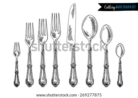 Vector hand drawn illustration with cutlery set. Sketch. Vintage illustration.