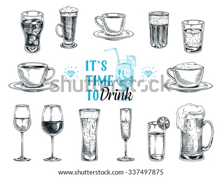 Vector hand drawn illustration with drinks. Sketch.
