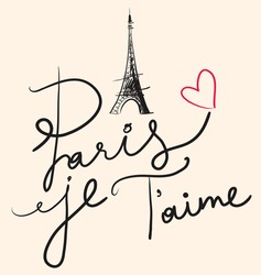 Vector hand drawn illustration with Eiffel tower. Paris je T'aime