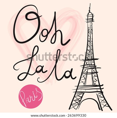Vector hand drawn illustration with Eiffel tower Symbol of Paris