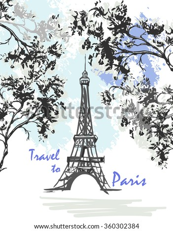 vector hand drawn illustration with eiffel tower template for design