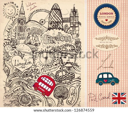 Vector hand drawn illustration with London symbols