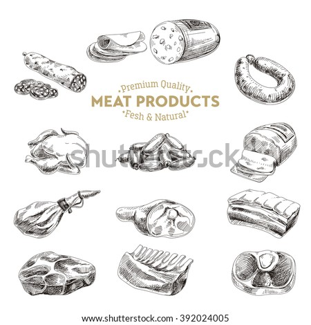 Vector hand drawn Illustration with meat products. Sketch. Vintage style. Retro background.