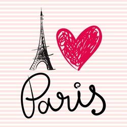 Vector hand drawn illustration with Paris symbol. Eiffel tower. I love Paris.