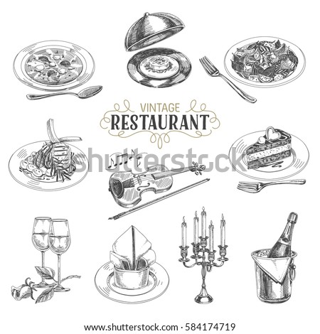 Vector hand drawn Illustration with retro restaurant staff. Sketch. Vintage style.