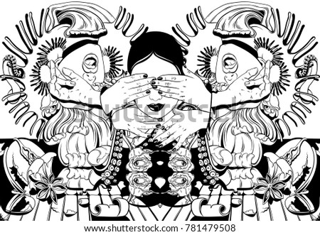 Strange girl cartoon download free vector art stock graphics vector hand drawn illustration with screaming girl tentacles roses venus flytrap tattoo ccuart Choice Image