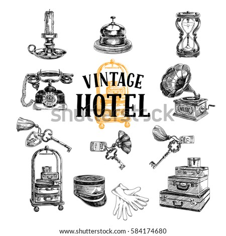 Vector hand drawn Illustration with vintage hotel staff. Sketch. Retro style.