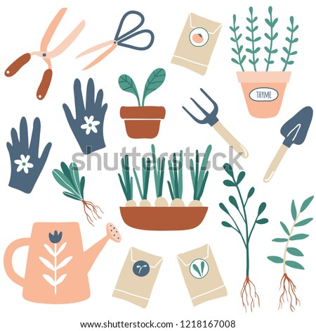 Vector hand drawn illustrations of gardening. Cute garden work hand drawn elements. Garden tools: plants in pots, gloves, shovel, pitchfork, watering can, pruner. Images for gardener farm. Spring time