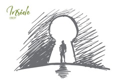 Vector hand drawn inside concept sketch. Silhouette of man standing in keyhole. Lettering Inside concept