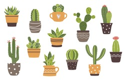 Vector hand drawn isolated cactus and succulents set. Cute green cactus in flower pots.