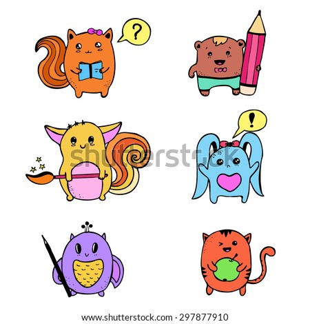 vector hand drawn kawaii animals